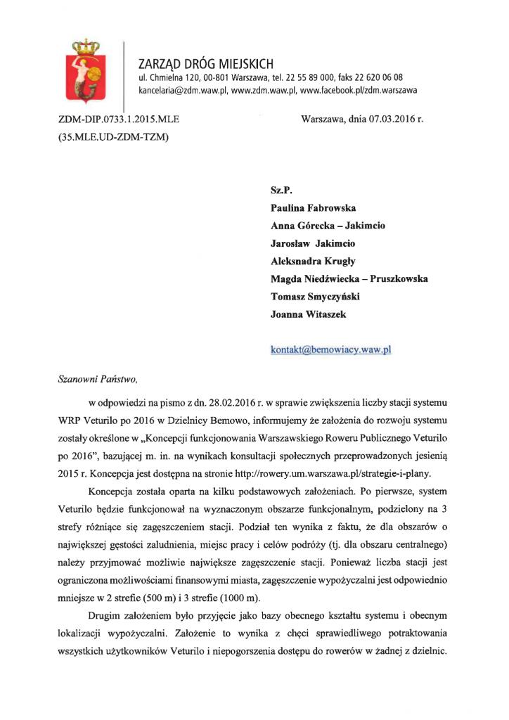 odp. ZDM na list otwarty - Veturilo str. 1