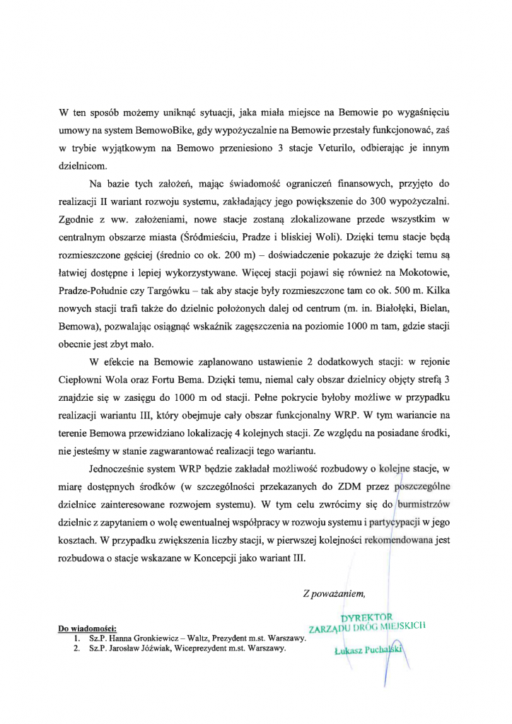 odp. ZDM na list otwarty - Veturilo str. 2