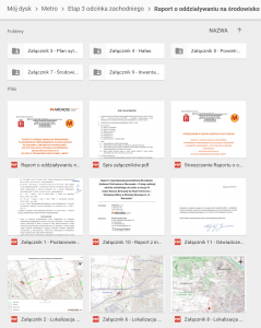 Raport o oddziaływaniu na środowisko - dokumenty na Dysku Google