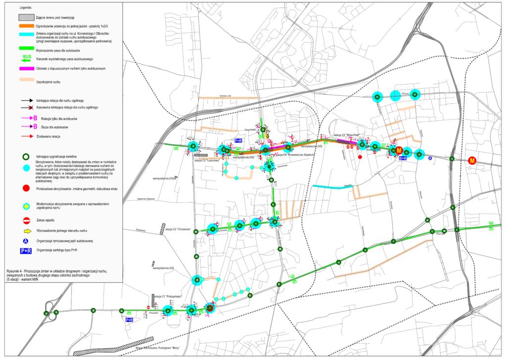 Propozycja zmian w układzie drogowym i organizacji ruchu, związanych z budową drugiego etapu odcinka zachodniego (5 stacji) - wariant MIN