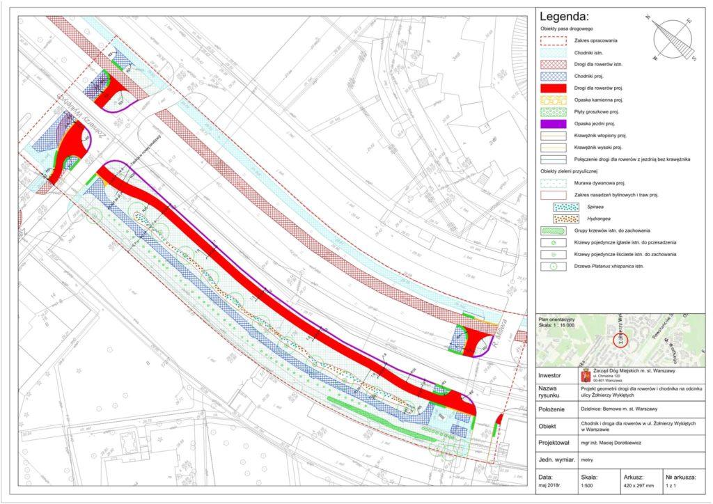 Projekt geometrii drogi dla rowerów i chodnika na odcinku ulicy Żołnierzy Wyklętych