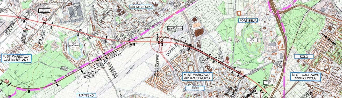 S7 - przebieg projektowanych wariantów drogi (fragment)