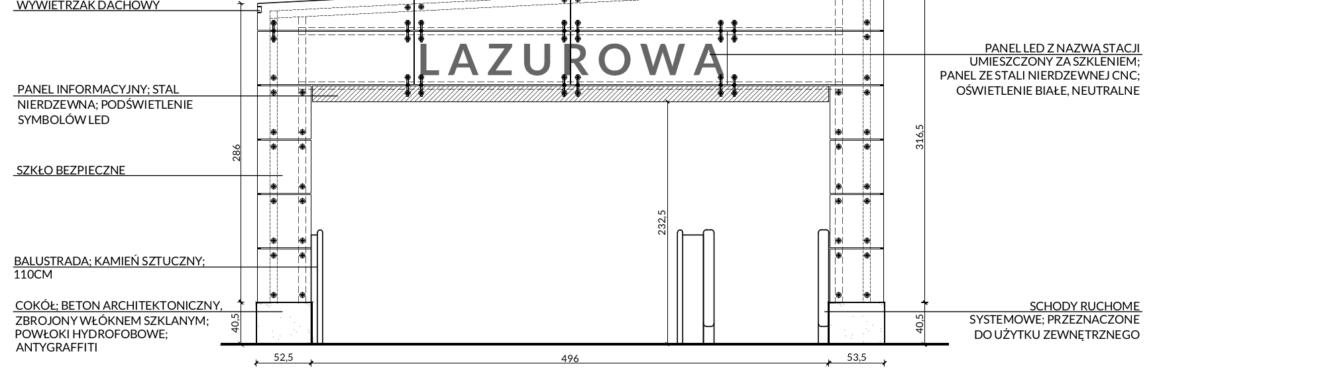 Wiata wejściowa elewacja – schemat w skali 1:50