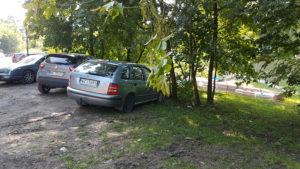 Ul. Waldorffa - parkowanie na trawie