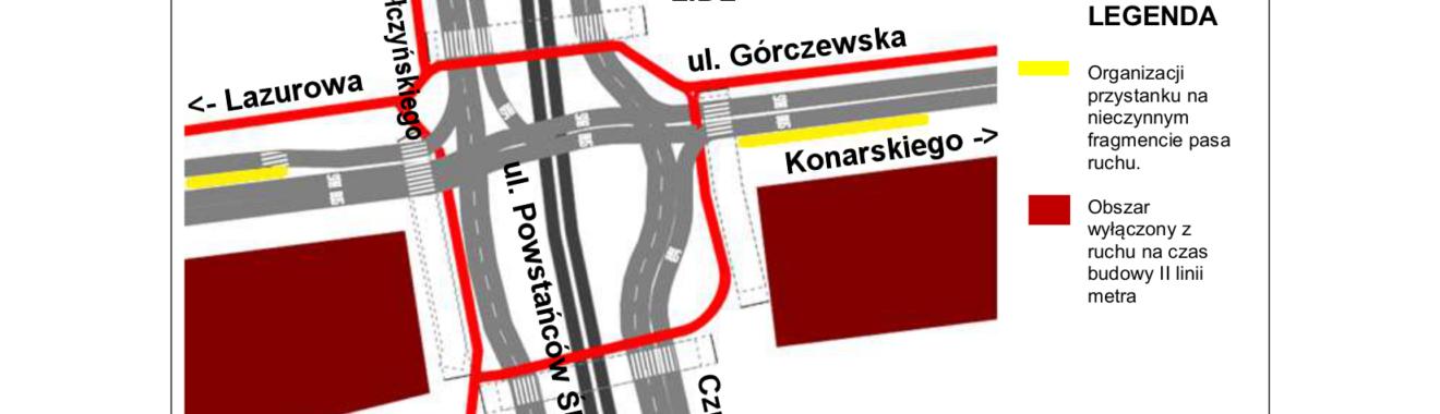 Schemat skrzyżowania ul. Powstańców Śląskich z ul. Górczewska – wariant MIN i REK.